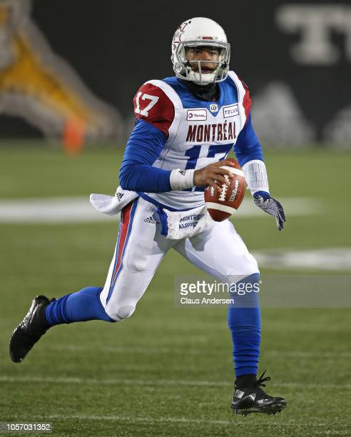 Antonio Pipkin of the Montreal Alouettes looks to make a pass against the Hamilton TigerCats in a CFL game at Tim Hortons Field on November 3 2018 in...