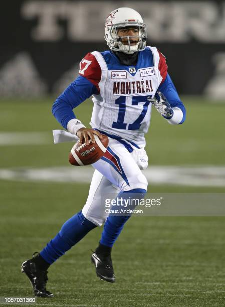 Antonio Pipkin of the Montreal Alouettes looks to pass against the Hamilton TigerCats in a CFL game at Tim Hortons Field on November 3 2018 in...