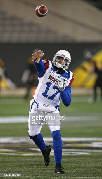 Antonio Pipkin of the Montreal Alouettes warms up prior to action against the Hamilton TigerCats in a CFL game at Tim Hortons Field on November 3...