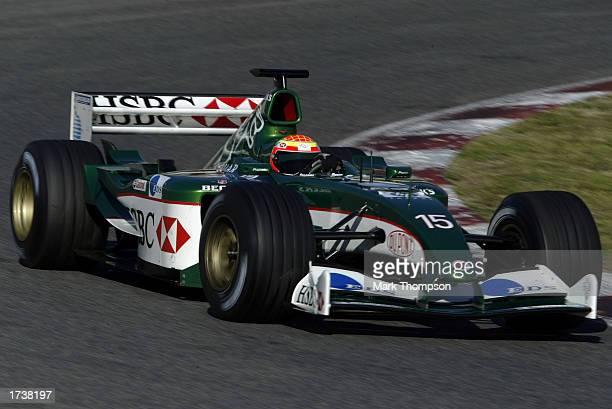 Antonio Pizzonia of Jaguar and Brazil drives the new Jaguar R4 during Formula One testing at the Circuit de Catalunya, Barcelona, Spain, on January...