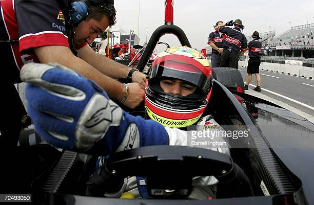 Antonio Pizzonia sits inside the Rocketsports Racing Lola Cosworth during practice for the Champ Car World Series Gran Premio Telmex at the Autodromo...
