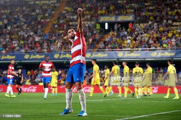Antonio Puertas of Granada CF celebrates after scoring his team's fourth goal during the Liga match between Villarreal CF and Granada CF at Estadio...