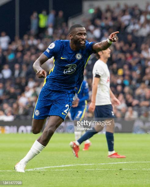 Antonio Rüdiger celebrates after scoring Chelsea's third goal during the Premier League match between Tottenham Hotspur and Chelsea at Tottenham...
