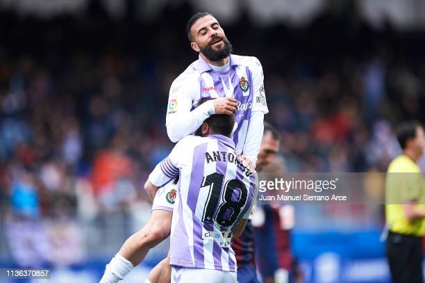 Antonio Regal of Real Valladolid CF and Daniele Verde of Real Valladolid CF celebrates after wining the match during the La Liga match between SD...