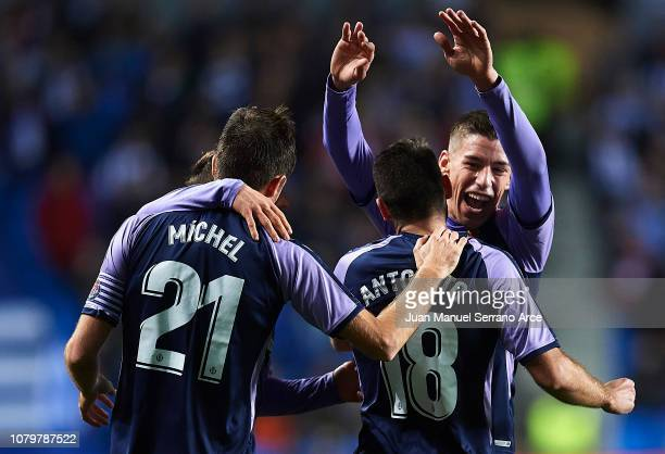 Antonio Regal of Valladolid CF celebrates with his teammates Ruben Alcacer CF after scoring his team's second goal during the La Liga match between...