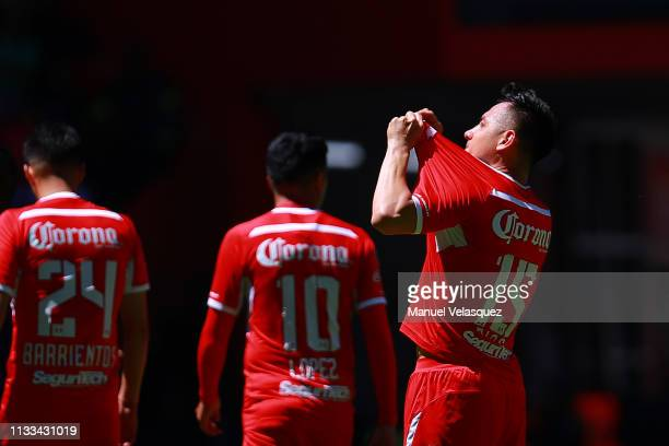 Antonio Rios of Toluca celebrates the second scored goal during the 9th round match between Toluca and Veracruz as part of the Torneo Clausura 2019...