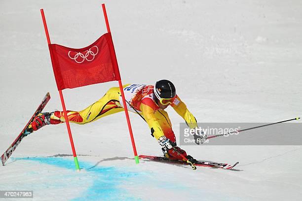 Antonio Ristevski of the Former Yugoslav Republic of Macedonia falls during the Alpine Skiing Men's Giant Slalom on day 12 of the Sochi 2014 Winter...