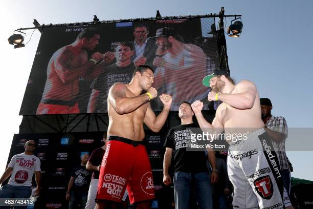 Antonio Rodrigo Nogueira and Roy Nelson faceoff after they weighin for UFC Fight Night 39 on April 10 2014 in Abu Dhabi United Arab Emirates UFC...
