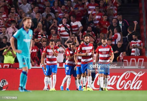 Antonio RodrIguez 'Puertas' Granada CF celebrates after scoring goal during the Liga match between Granada CF and FC Barcelona at Estadio Nuevo Los...