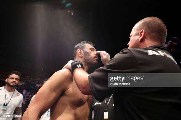 Antonio Rogerio Nogueira of Brazil prepares to enter the Octagon prior to facing Sam Alvey in their light heavyweight bout during the UFC Fight Night...