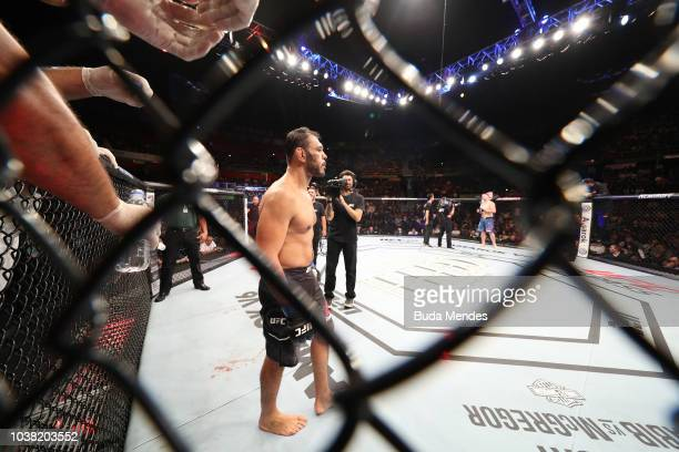 Antonio Rogerio Nogueira of Brazil stands in his corner prior to facing Sam Alvey in their light heavyweight bout during the UFC Fight Night event at...