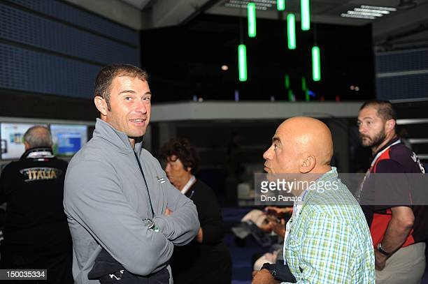 Antonio Rossi and actor Paolo Cevoli attend the London 2012 Olympic Games at The Queen Elizabeth II Conference Centre on July 31 2012 in London...