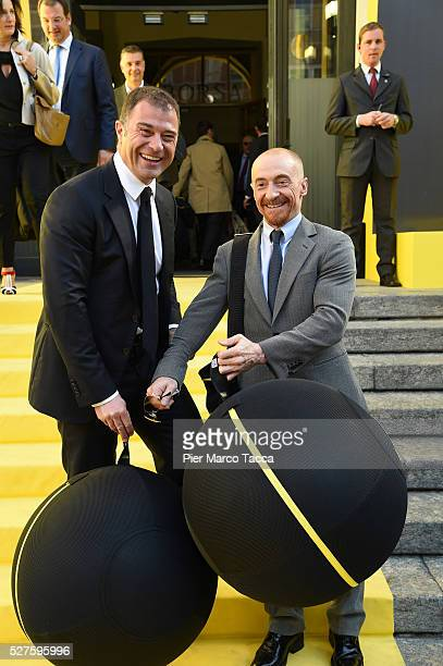 Antonio Rossi and Jury Chechi attend the Technogym Listing Ceremony at Palazzo Mezzanotte on May 3 2016 in Milan Italy Technogym is the world leader...