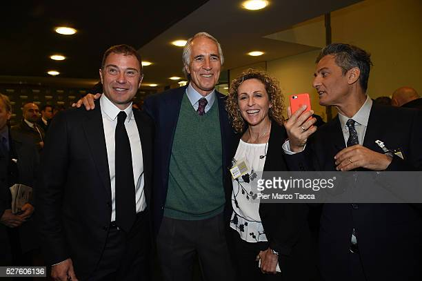 Antonio Rossi Giovanni Malago Alessandra Sensini and Rosario Fiorello attend the Technogym Listing Ceremony at Palazzo Mezzanotte on May 3 2016 in...