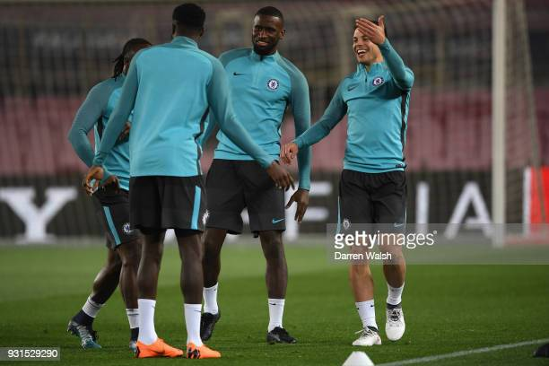 Antonio Rudiger and Cesar Azpilicueta of Chelsea during a training session at Nou Camp on March 13 2018 in Barcelona Spain