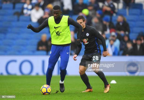 Antonio Rudiger and Cesar Azpilicueta of Chelsea warm up prior to the Premier League match between Brighton and Hove Albion and Chelsea at Amex...