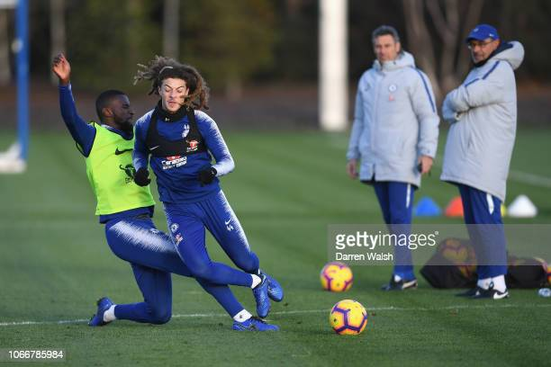 Antonio Rudiger and Ethan Ampadu of Chelsea during a training session at Chelsea Training Ground on November 30 2018 in Cobham England