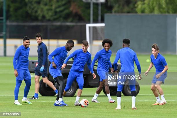 Antonio Rudiger and Mason Mount of Chelsea during a training session at Chelsea Training Ground on July 3 2020 in Cobham England