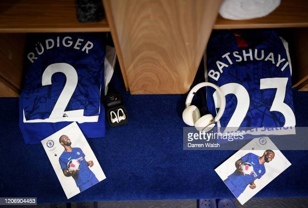 Antonio Rudiger and Michy Batshuayi of Chelsea shirts are seen in the changing room prior to the Premier League match between Chelsea FC and...