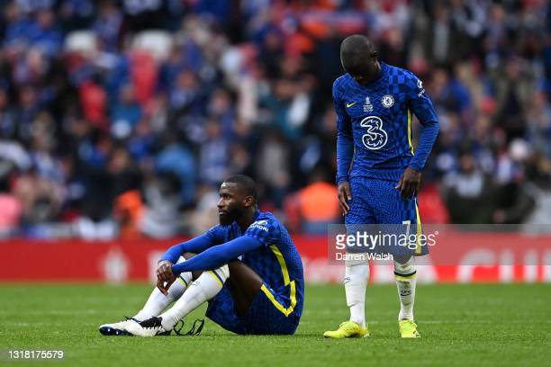 Antonio Rudiger and N'Golo Kante of Chelsea look dejected following defeat in The Emirates FA Cup Final match between Chelsea and Leicester City at...