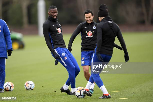 Antonio Rudiger and Pedro of Chelsea during a training session at Chelsea Training Ground on February 14 2018 in Cobham England