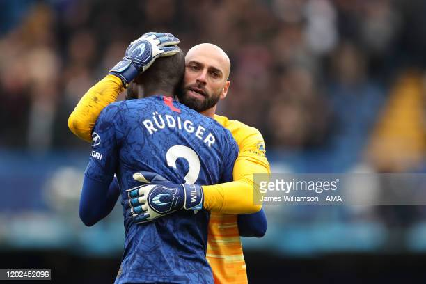 Antonio Rudiger and Willy Caballero of Chelsea at full time of the Premier League match between Chelsea FC and Tottenham Hotspur at Stamford Bridge...