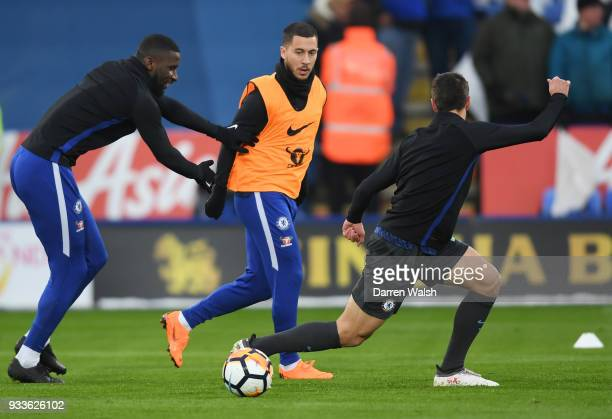 Antonio Rudiger Eden Hazard and Cesar Azpilicueta of Chelsea warm up prior to The Emirates FA Cup Quarter Final match between Leicester City and...