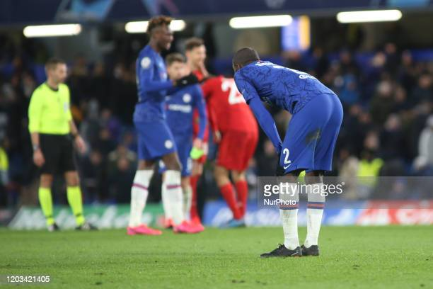 Antonio Rudiger gestures during the 2019/20 UEFA Champions League 1/8 playoff finale game between Chelsea FC and Bayern Munich at Stamford Bridge.