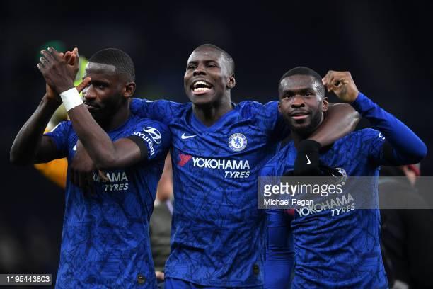 Antonio Rudiger Kurt Zouma and Fikayo Tomori of Chelsea celebrate during the Premier League match between Tottenham Hotspur and Chelsea FC at...