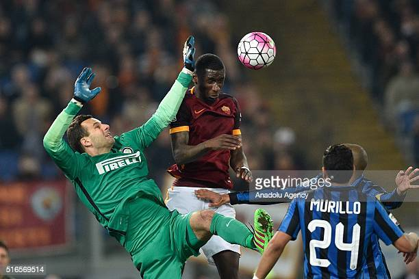 Antonio Rudiger of AS Roma competes for the ball with Samir Handanovic of Internazionale Milano during the Serie A football match between AS Roma and...