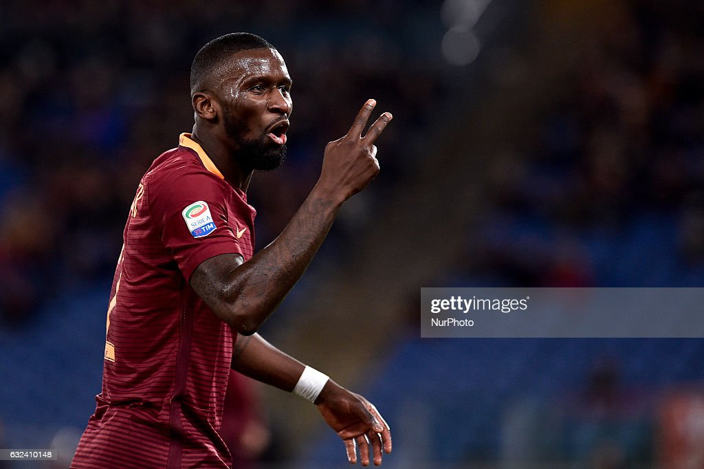 Antonio Rudiger of AS Roma during the Serie A match between Roma and Cagliari at Stadio Olimpico, Rome, Italy on 22 January 2017. Photo by Giuseppe Maffia.
