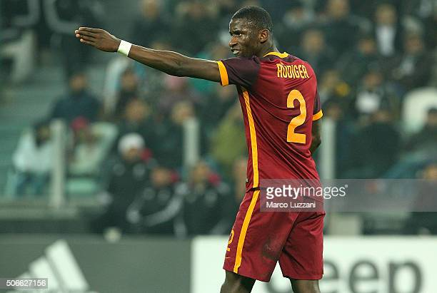 Antonio Rudiger of AS Roma gestures during the Serie A match between Juventus FC and AS Roma at Juventus Arena on January 24 2016 in Turin Italy