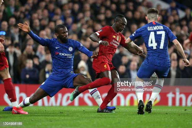 Antonio Rudiger of Chelsea and Sadio Mane of Liverpool during the FA Cup Fifth Round match between Chelsea and Liverpool at Stamford Bridge on March...