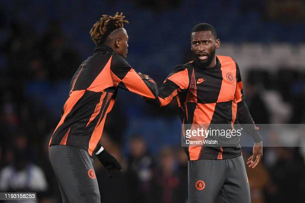 Antonio Rudiger of Chelsea and Tammy Abraham of Chelsea warm up during the UEFA Champions League group H match between Chelsea FC and Lille OSC at...