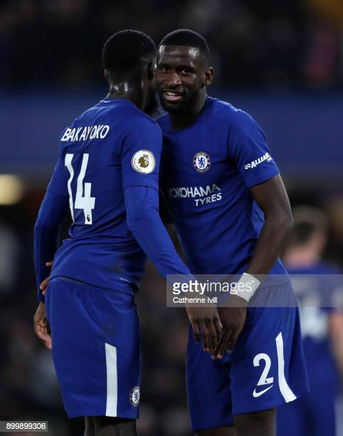 Antonio Rudiger of Chelsea and Tiemoue Bakayoko of Chelsea during the Premier League match between Chelsea and Stoke City at Stamford Bridge on...