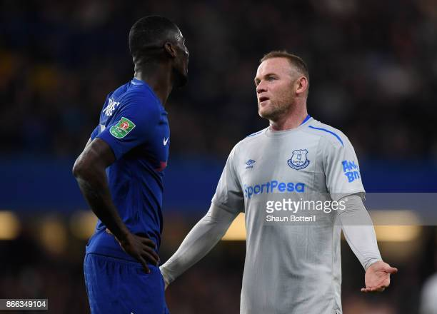 Antonio Rudiger of Chelsea and Wayne Rooney of Everton speak during the Carabao Cup Fourth Round match between Chelsea and Everton at Stamford Bridge...