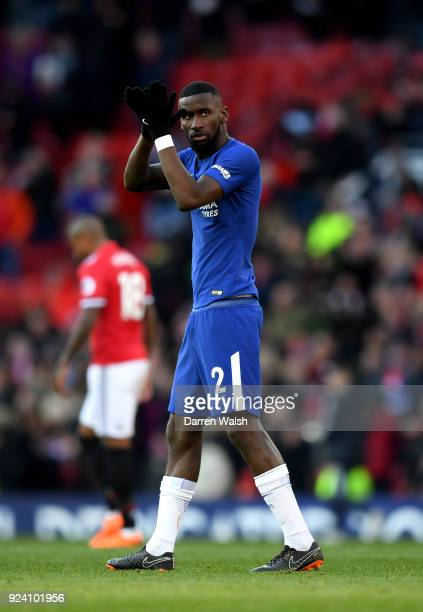 Antonio Rudiger of Chelsea applauds fans after the Premier League match between Manchester United and Chelsea at Old Trafford on February 25 2018 in...