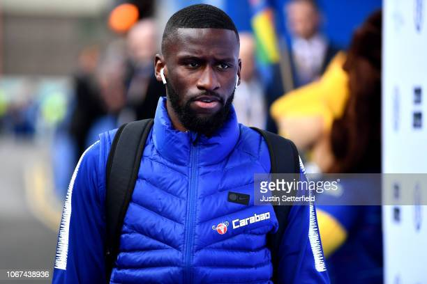 Antonio Rudiger of Chelsea arrives at the stadium ahead of the Premier League match between Chelsea FC and Fulham FC at Stamford Bridge on December 1...