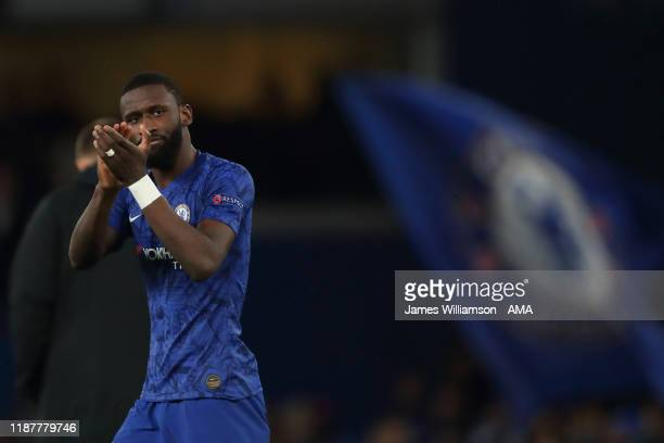 Antonio Rudiger of Chelsea at full time of the UEFA Champions League group H match between Chelsea FC and Lille OSC at Stamford Bridge on December 10...