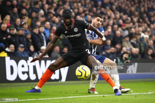 Antonio Rudiger of Chelsea battles for possession with Neal Maupay of Brighton and Hove Albion during the Premier League match between Brighton Hove...