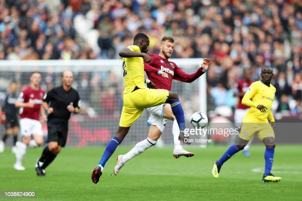Antonio Rudiger of Chelsea battles for the ball with Andriy Yarmolenko of West Ham United during the Premier League match between West Ham United and...