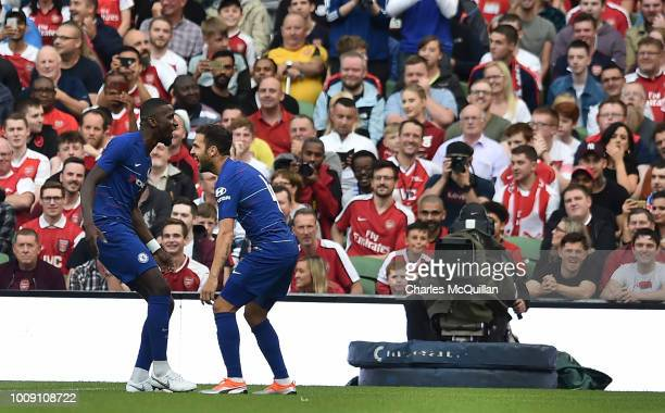 Antonio Rudiger of Chelsea celebrates after scoring during the Preseason friendly International Champions Cup game between Arsenal and Chelsea at...