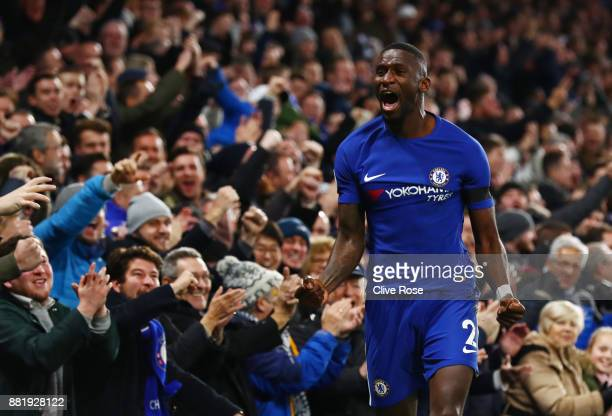 Antonio Rudiger of Chelsea celebrates after scoring his sides first goal during the Premier League match between Chelsea and Swansea City at Stamford...
