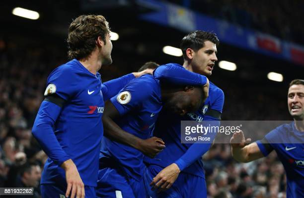 Antonio Rudiger of Chelsea celebrates after scoring his sides first goal with Alvaro Morata of Chelsea and Marcos Alonso of Chelsea during the...
