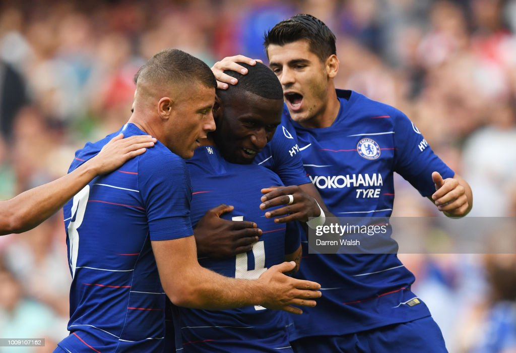 Antonio Rudiger of Chelsea (2R) celebrates after scoring his team's first goal with team mates during the International Champions Cup 2018 match between Arsenal and Chelsea at the Aviva Stadium on August 1, 2018 in Dublin, Ireland.