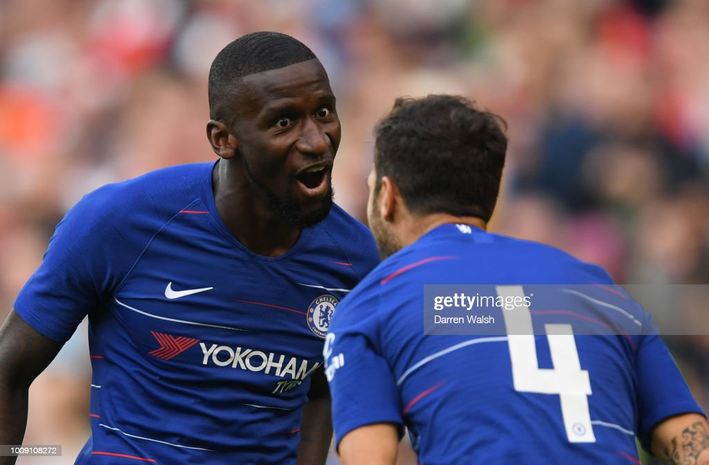 Antonio Rudiger of Chelsea celebrates after scoring his team's first goal with team mate Cesc Fabregas of Chelsea (4) during the International Champions Cup 2018 match between Arsenal and Chelsea at the Aviva Stadium on August 1, 2018 in Dublin, Ireland.