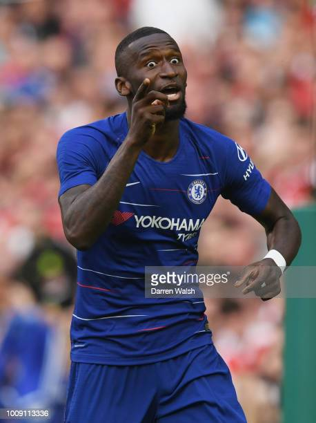 Antonio Rudiger of Chelsea celebrates after scoring his team's first goal during the International Champions Cup 2018 match between Arsenal and...