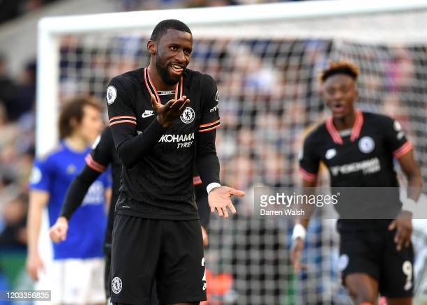 Antonio Rudiger of Chelsea celebrates after scoring his team's first goal during the Premier League match between Leicester City and Chelsea FC at...