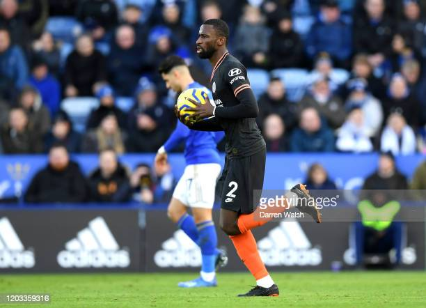 Antonio Rudiger of Chelsea celebrates after scoring his team's second goal during the Premier League match between Leicester City and Chelsea FC at...