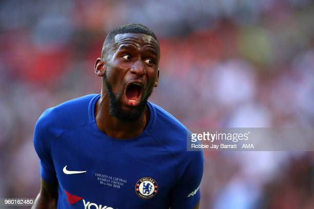Antonio Rudiger of Chelsea celebrates at the end of the Emirates FA Cup Final between Chelsea and Manchester United at Wembley Stadium on May 19 2018...